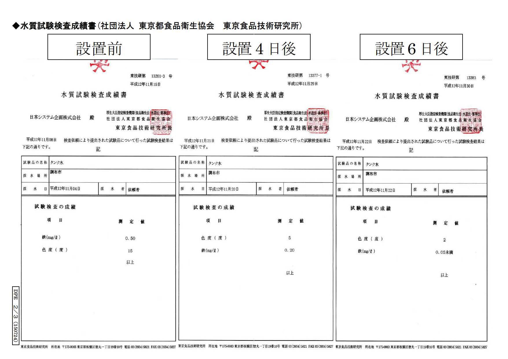 大手DPE工場_水質試験検査成績書